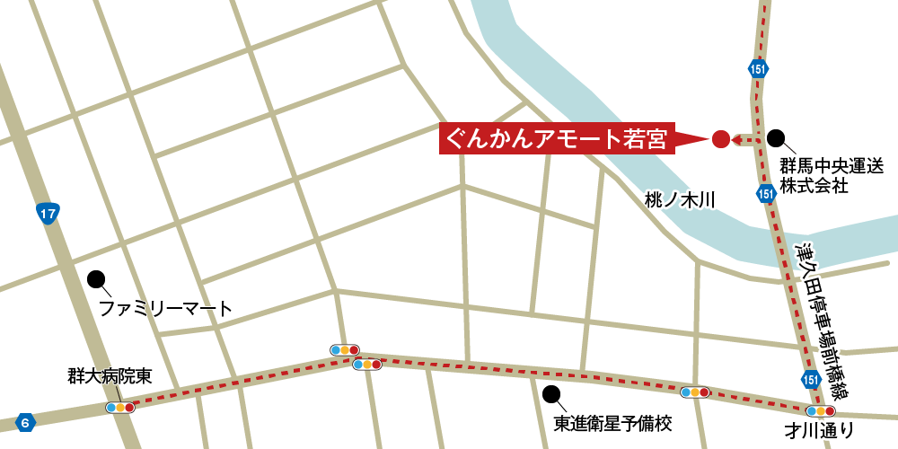 アモート若宮への車での行き方・アクセスを記した地図