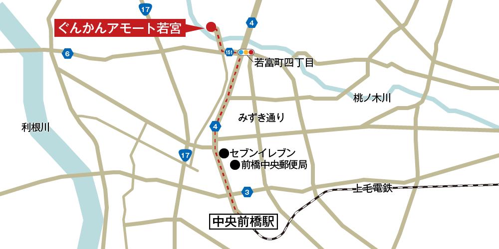 アモート若宮への徒歩・バスでの行き方・アクセスを記した地図