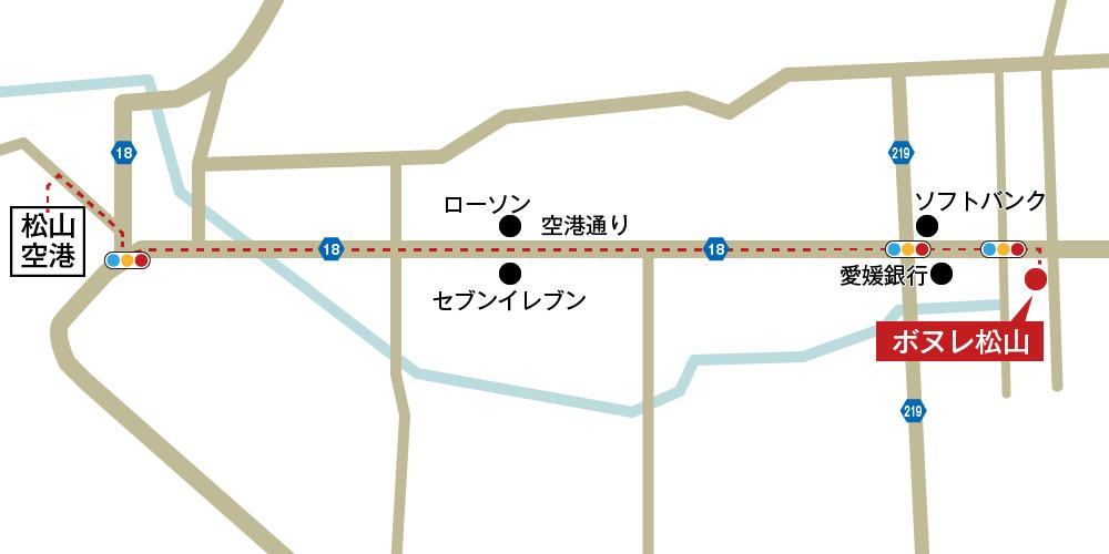 ボヌレ松山への車での行き方・アクセスを記した地図