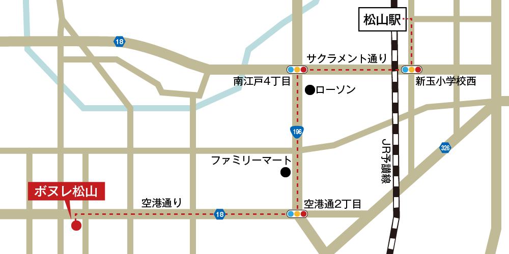 ボヌレ松山への徒歩・バスでの行き方・アクセスを記した地図
