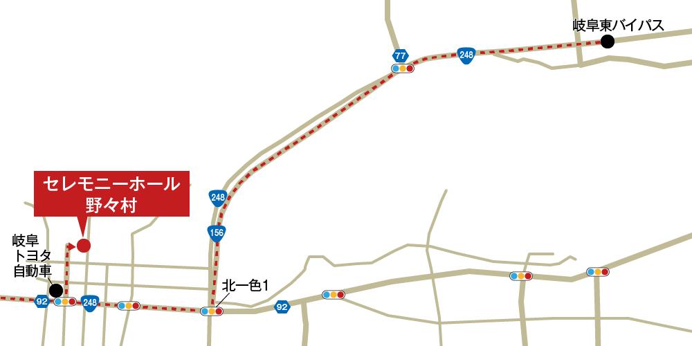 セレモニーホール野々村への車での行き方・アクセスを記した地図