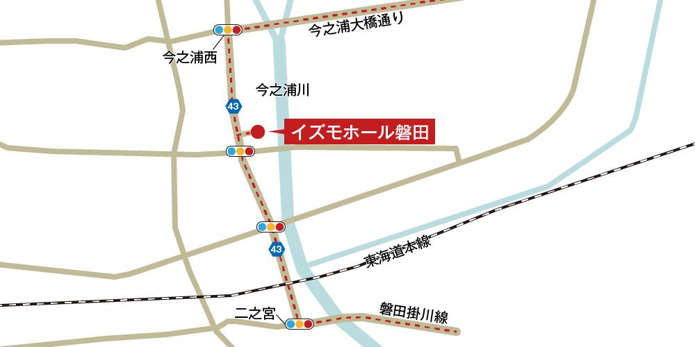 イズモホール磐田への車での行き方・アクセスを記した地図