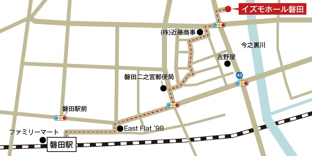 イズモホール磐田への徒歩・バスでの行き方・アクセスを記した地図