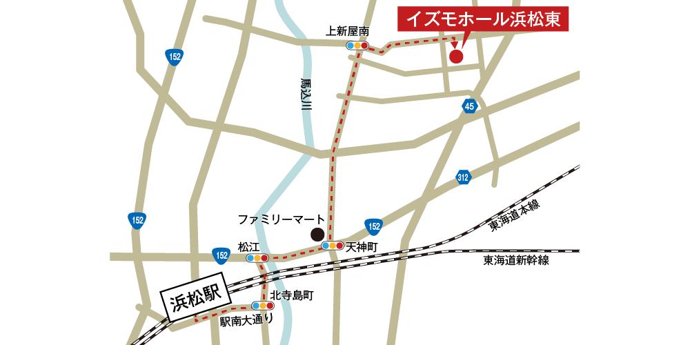 イズモホール浜松東への徒歩・バスでの行き方・アクセスを記した地図