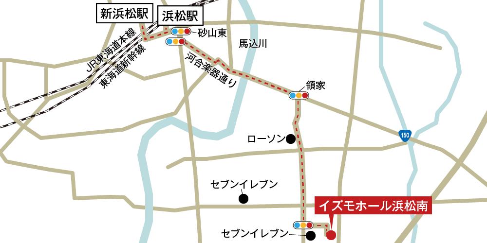 イズモホール浜松南への徒歩・バスでの行き方・アクセスを記した地図