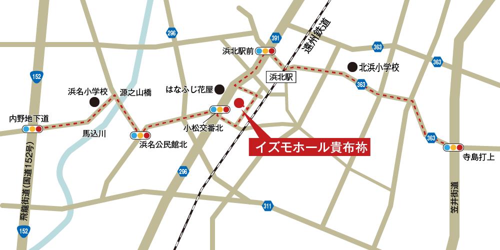 イズモホール貴布祢への車での行き方・アクセスを記した地図