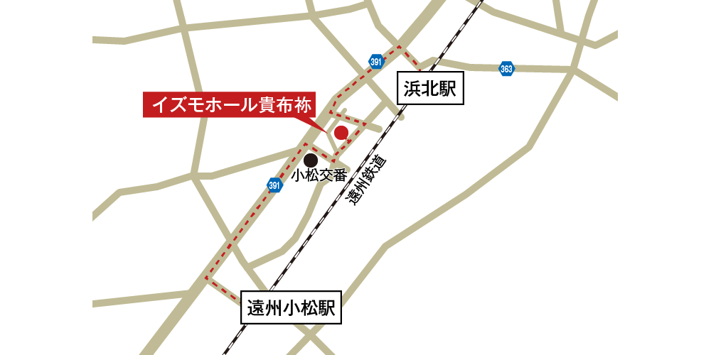 イズモホール貴布祢への徒歩・バスでの行き方・アクセスを記した地図