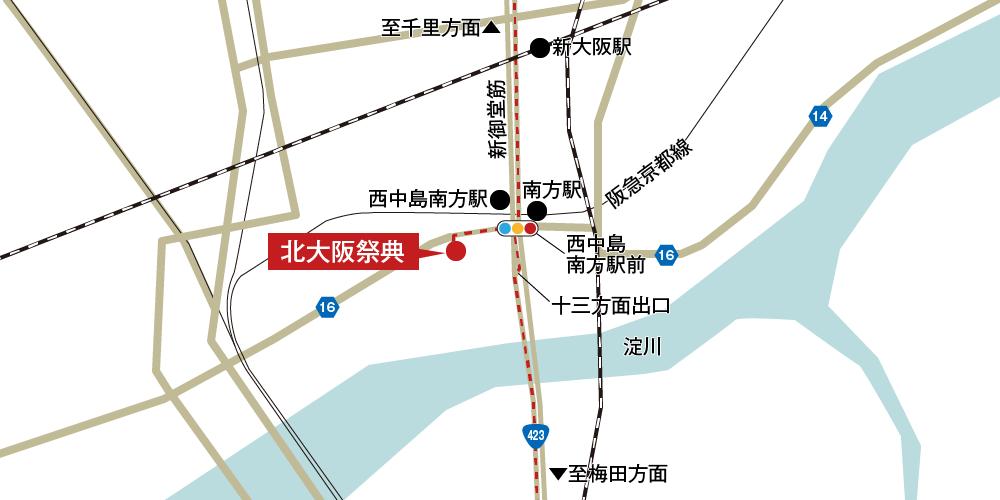北大阪祭典への車での行き方・アクセスを記した地図
