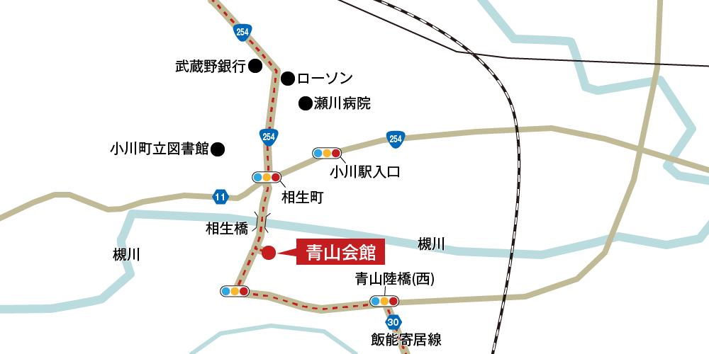 青山会館への車での行き方・アクセスを記した地図