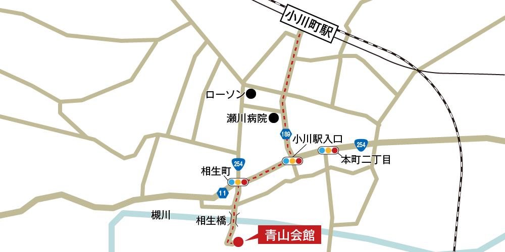 青山会館への徒歩・バスでの行き方・アクセスを記した地図