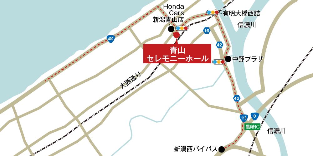 青山セレモニーホールへの車での行き方・アクセスを記した地図