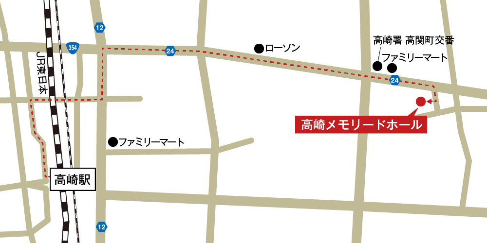 高崎メモリードホールへの徒歩・バスでの行き方・アクセスを記した地図