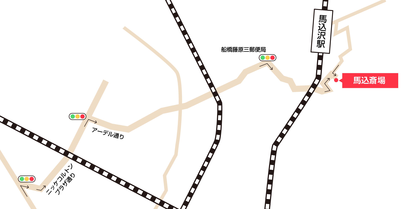 馬込斎場への車での行き方・アクセスを記した地図