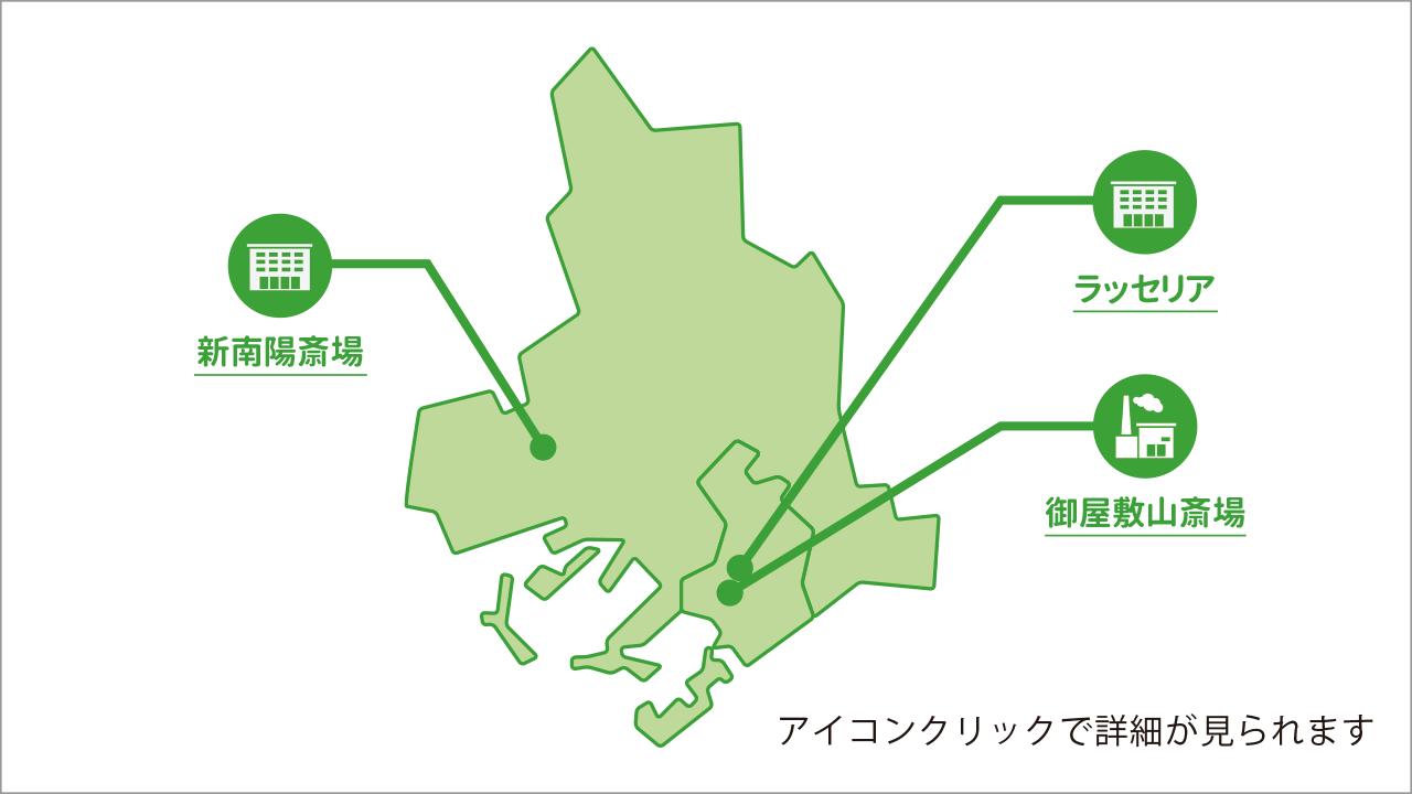 山口県周南市の葬儀場・火葬場を記した地図