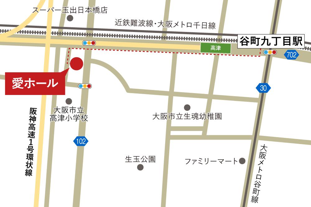 愛ホールへの徒歩・バスでの行き方・アクセスを記した地図