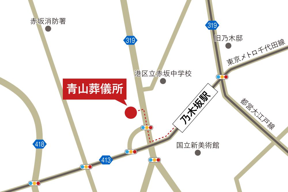 青山葬儀所への徒歩・バスでの行き方・アクセスを記した地図