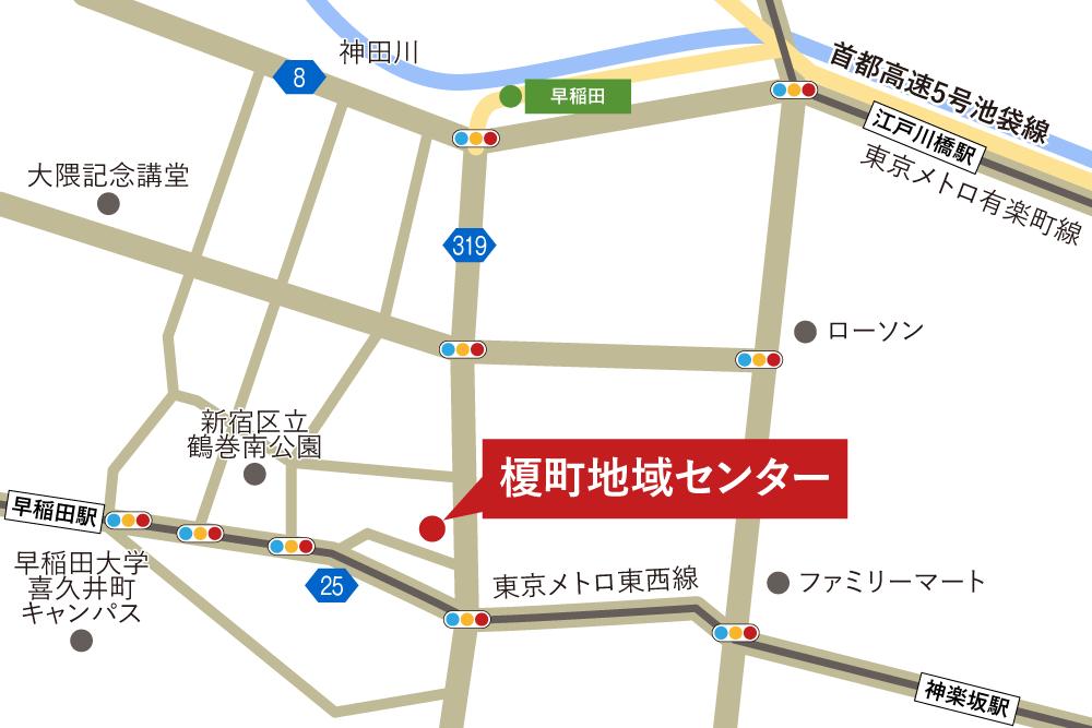 榎町地域センターへの車での行き方・アクセスを記した地図