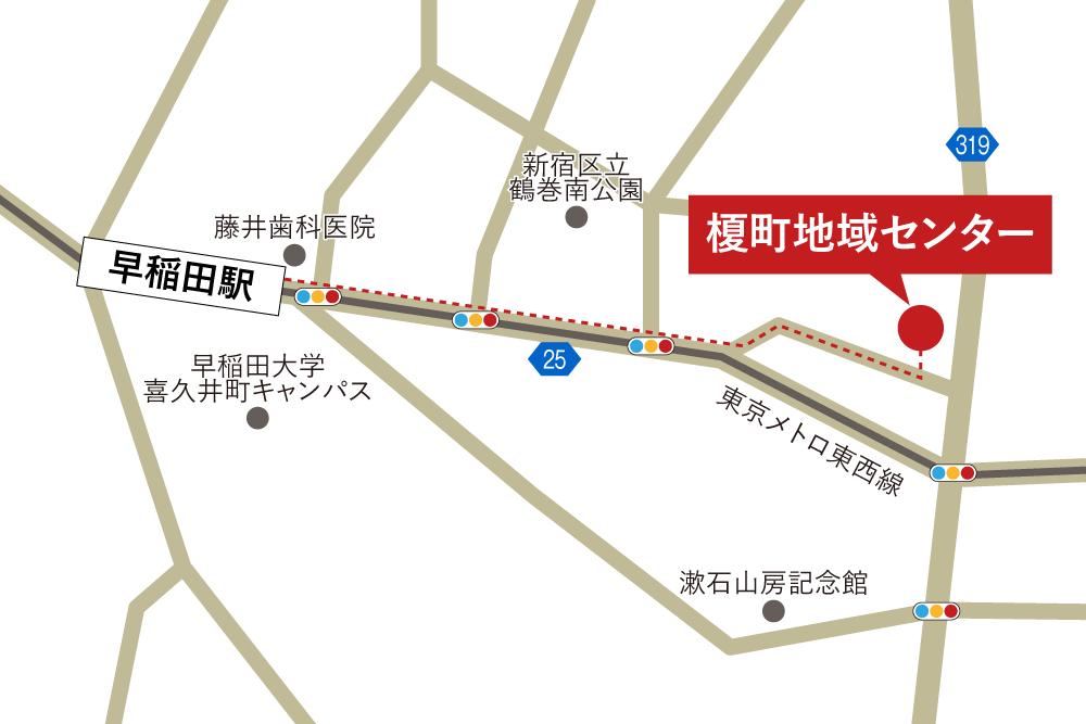 榎町地域センターへの徒歩・バスでの行き方・アクセスを記した地図