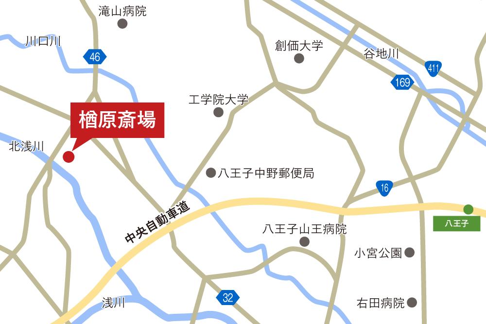 楢原斎場への車での行き方・アクセスを記した地図
