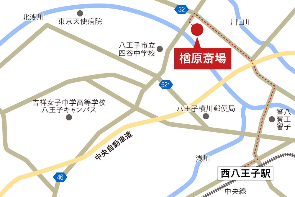 楢原斎場への徒歩・バスでの行き方・アクセスを記した地図