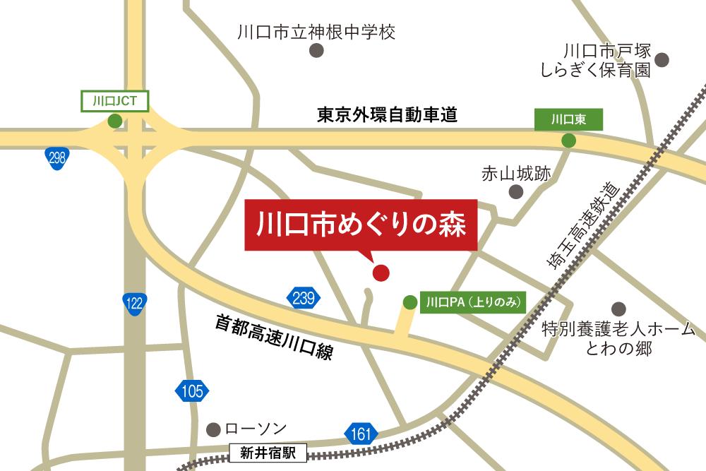 川口市めぐりの森への車での行き方・アクセスを記した地図
