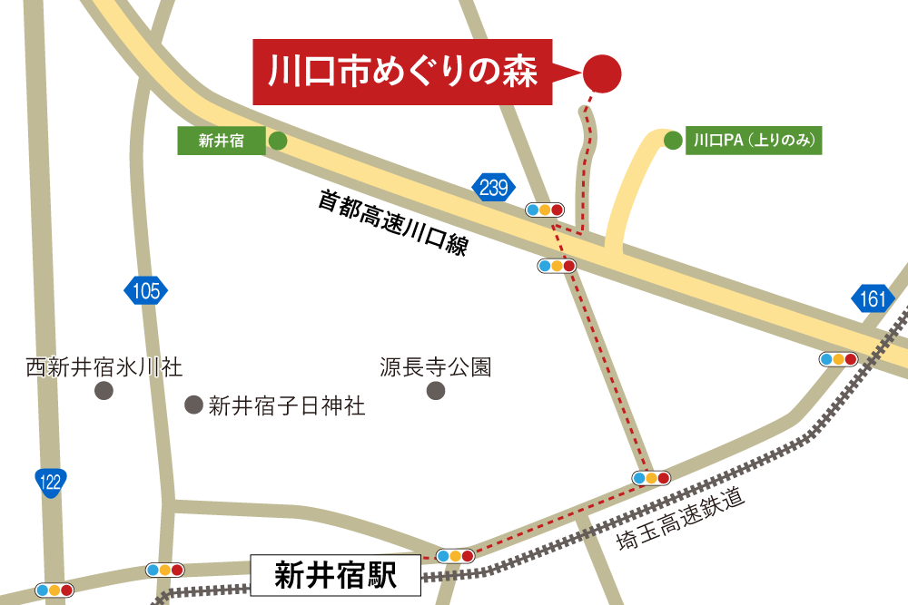 川口市めぐりの森への徒歩・バスでの行き方・アクセスを記した地図