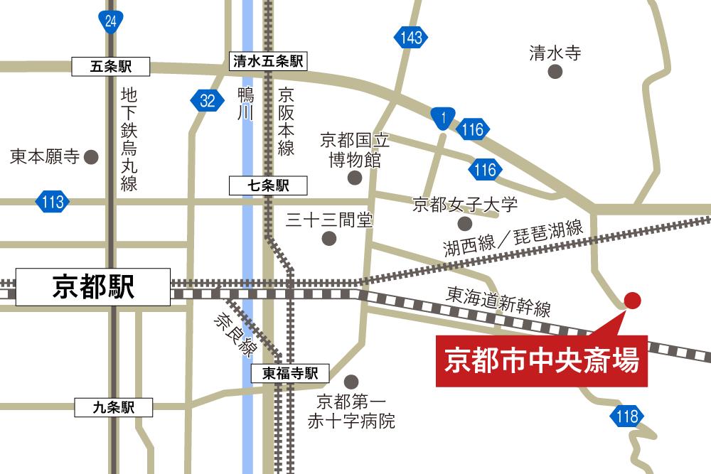 京都市中央斎場への車での行き方・アクセスを記した地図