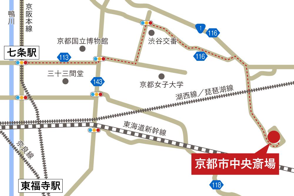 京都市中央斎場への徒歩・バスでの行き方・アクセスを記した地図