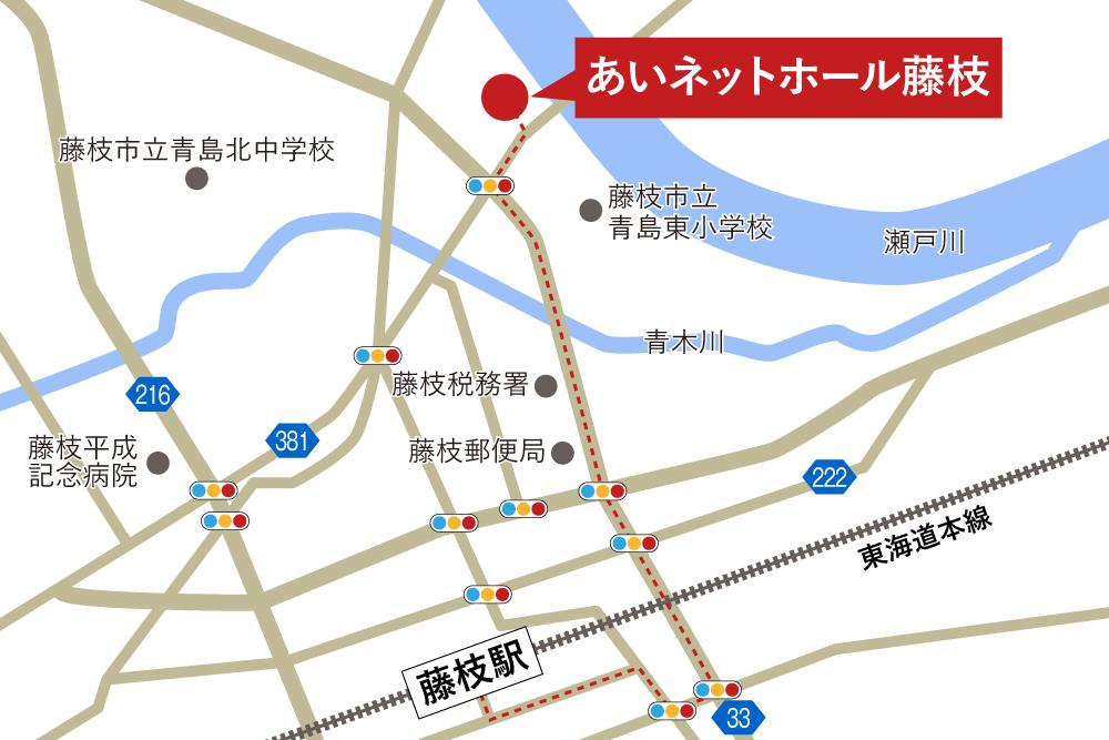 あいネットホール藤枝への徒歩・バスでの行き方・アクセスを記した地図