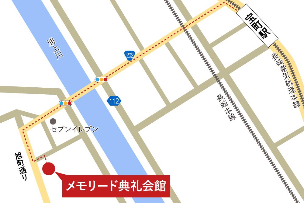 メモリード典礼会館への徒歩・バスでの行き方・アクセスを記した地図