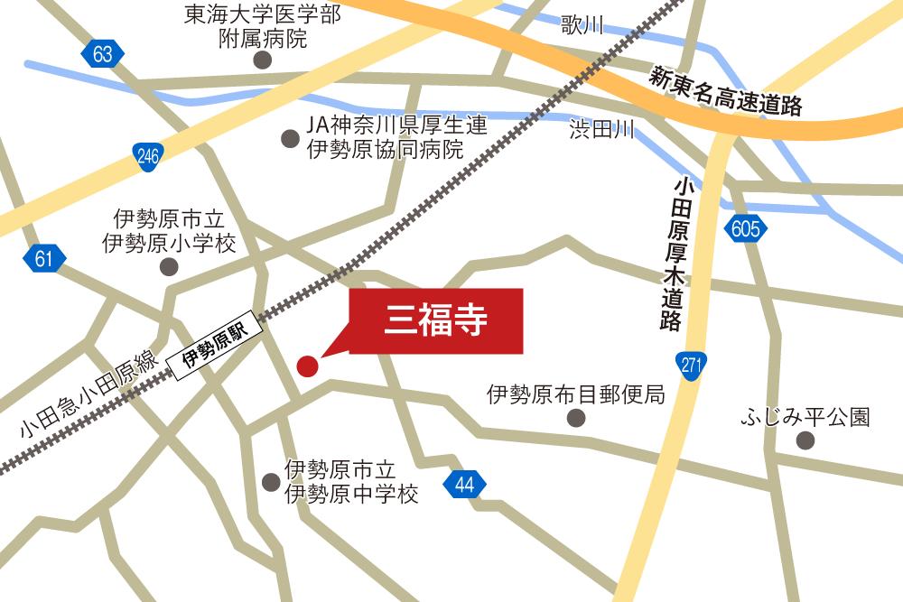 三福寺への車での行き方・アクセスを記した地図