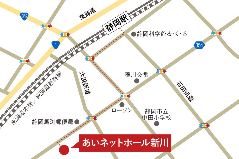 あいネットホール新川への徒歩・バスでの行き方・アクセスを記した地図