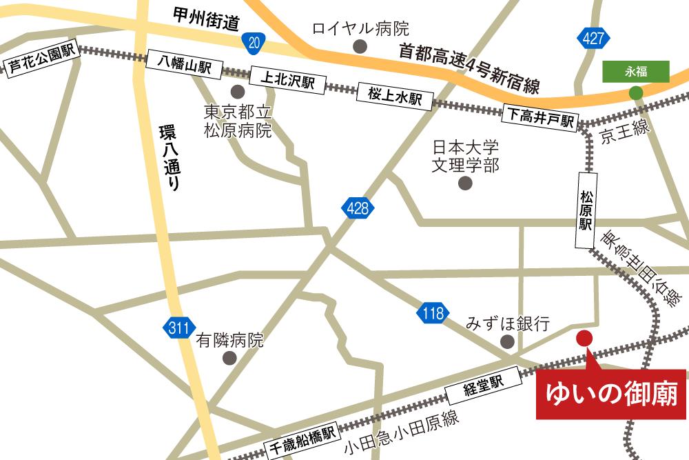 ゆいの御廟への車での行き方・アクセスを記した地図